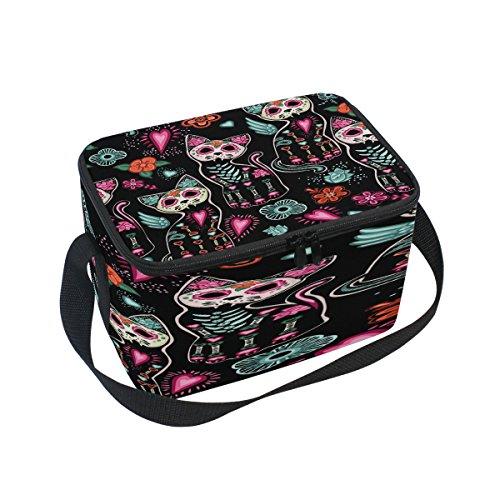 (Domoko Tag der Toten Katze Kätzchen Sugar Skull Isolierte Lunch Bag Tasche Cooler Lunchbox für Picknick Schule Frauen Herren Kinder)