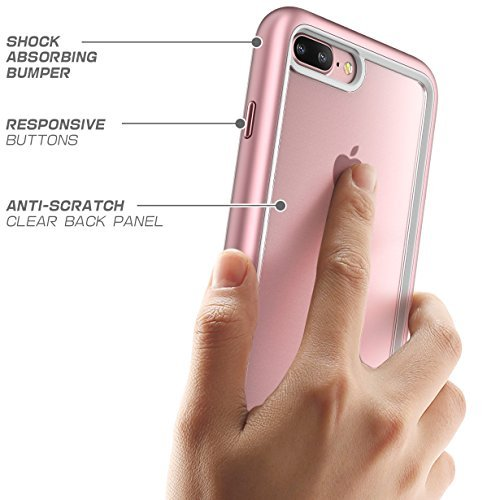 "iPhone 7 Plus Hülle, iPhone 8 Plus Hülle, Supcase Unicorn Beetle Style Case Cover Premium Handyhülle Hybrid Transparente Schutzhülle für Apple iPhone 7 Plus / iPhone 8 Plus, Schwarz"" Rosagold"