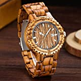 Herren Holz Armbanduhr Hot 2017Quarz Handgelenk Uhren mit Sandelholz Strap Kalender Uhr Stecker Luxus Marke Sport Armbanduhr, braun