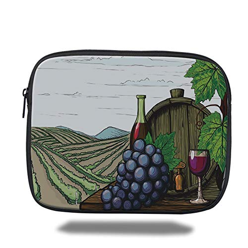 Tablet Bag for Ipad air 2/3/4/mini 9.7 inch,Wine,Landscape with Views of Vineyards Grapes Leaves Drink Barrel Agriculture Field Farm Decorative,Multicolor,Bag -