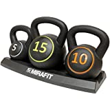 MiraFit 3pce Kettlebell Weight Set with Stand - 5, 10 & 15lbs (2.2kg, 4.5kg & 6.8kg)