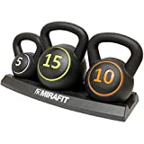 MiraFit 3pce Kettlebell Weight Set with Stand - 5, 10 & 15lbs (2.2kg, 4.5kg & 6.8 kg)