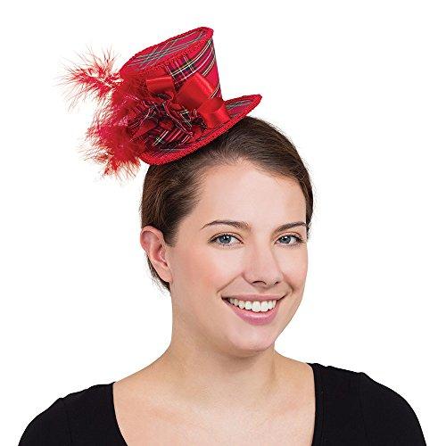 Bristol Novelty bh675Tartan Mini hoch Hat, Red, One size