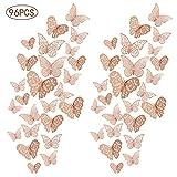 Rubywoo&chili 96er Deko Schmetterlinge Wanddeko Aufkleber Wandsticker Abziehbilder, 3D Schmetterling Dekorationen für Hauptdekorationen Kinder Schlafzimmer