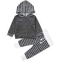 Babykleidung Satz, LANSKIRT Kleinkind Infant Baby Outfits Set Jungen Mädchen gestreift mit Kapuze Oberteile Pullover + Hosen Outfits Set 0-3 Alter