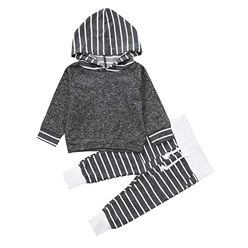 Babykleidung Satz, LANSKIRT Kleinkind Infant Baby Outfits Set Jungen Mädchen gestreift mit Kapuze Oberteile Pullover + Hosen Outfits Set 0-3 Alter Tutu Legging Set