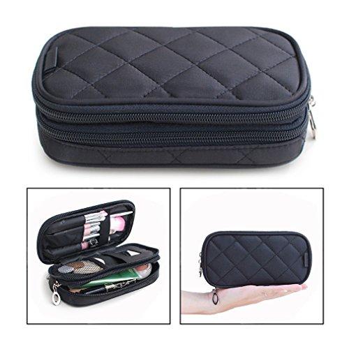 OFKPO Estuche para Maquillaje para Mujer, Organizador de Viaje con 2 Compartimentos, Funda de Viaje para Cosméticos Joyería/Labial/Cepillo de Sombra (Negro)