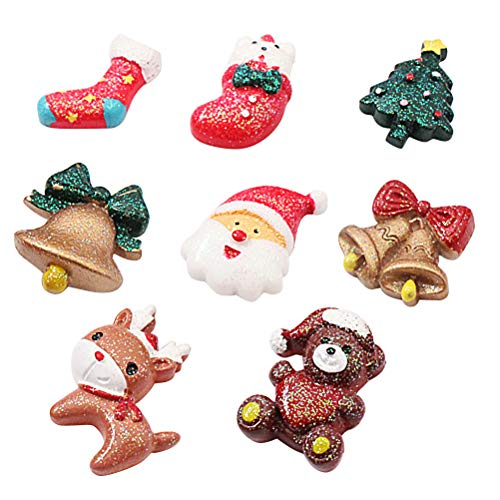BESTONZON Weihnachten Kühlschrankmagnete Dekorative Weihnachtsmann Rentier Bär Glocken Form für Büro Magnettafel Home Deko 8 Stück -