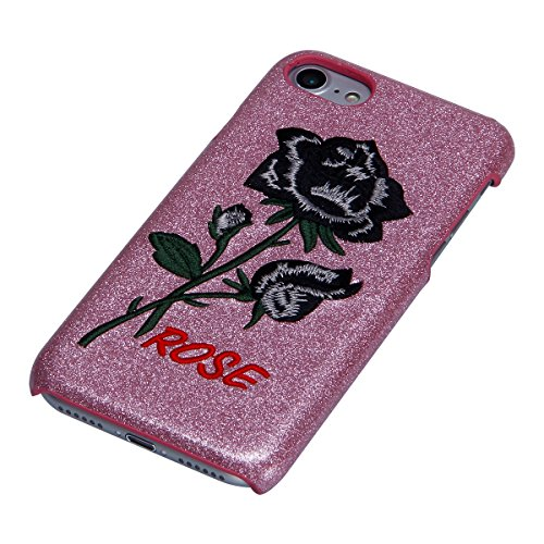 Custodia iPhone 7, iPhone 7 Cover Glitter, SainCat Custodia in PC Protettiva Hard Cover per iPhone 7 4.7, Bling Glitter 3D Design Hard Case Shock-Absorption Ultra Slim Sottile Custodia PC Cover Case A Fondazione Black Rose