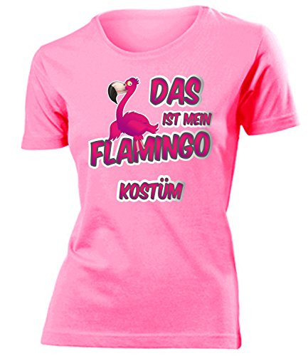 Flamingo Kostüm Kleidung 1727 Damen T-Shirt Frauen Karneval Fasching Faschingskostüm Karnevalskostüm Paarkostüm Gruppenkostüm Pink S