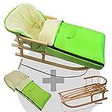 BambiniWelt24 BAMBINIWELT Kombi-Angebot Holz-Schlitten mit Rückenlehne & Zugseil + universaler Winterfußsack (108cm), auch geeignet für Babyschale, Kinderwagen, Buggy, Wolle Uni grün
