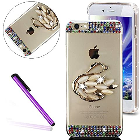Bling Pailletee Coque pour iPhone 6S,iPhone 6 Coque Bling Etui Housse,iPhone 6S Plastique Coque Hard Etui,iPhone 6S Transparent Plastic Case Cover,EMAXELERS Cute Gold Bear Biycle Modèle Briller Bling Cristal Sparkly Bling Diamant Or Hard Plastique PC Shell Couvrir avec Premium 3D Luxury Faux Diamond Pearl pour iPhone 6S / 6 4.7 Inch -- Gold Swan