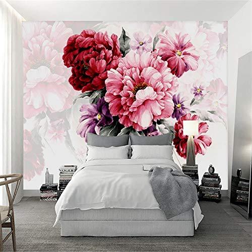 Art Print Fototapeten Moderne 3D Wallpaper 3D Aquarell Floral Moderne Wohnzimmer Schlafsofa Wand,400x280cm -