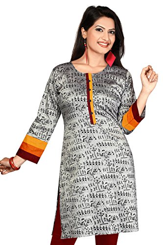 ALC Creations Women's Silk A-Line Kurti(AL0310_Grey_Medium)