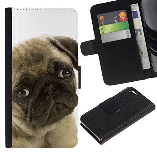 Sindrome depressiva stagionale, motivo: cane carlino con occhi per cani e animali domestici, con fessure per carte di credito e supporto a portafoglio in pelle PU, Cover protettiva per Apple iPhone 5/5S