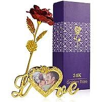 ZOYLINK 24 K Rosa Gold Artificial Flor de Rosa Caja de Regalo Regalo del día de