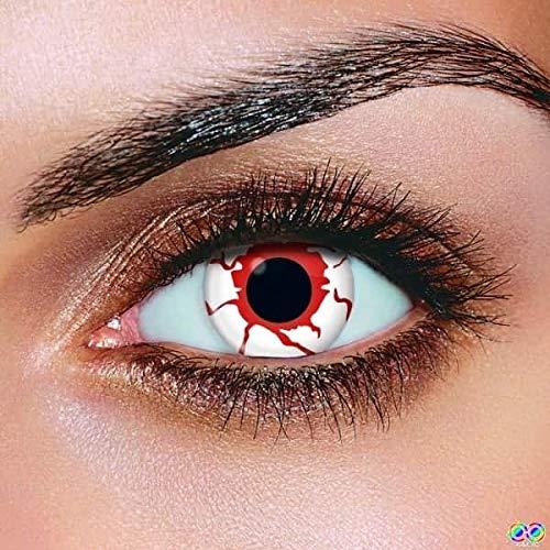 Farbige Kontaktlinsen, Halloween, Fasching, weich, ohne Stärke als 2er Pack - angenehm zu tragen, perfekt zu Halloween, Karneval, Fasching, Junggesellen Abschied, Party (Blut)