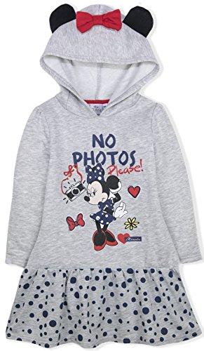 (Disney Minnie Mouse Mädchen Kapuzen Kleid in grau ~Rüschenkleid~Gr. 98,104,110/116,122/128 Größe 122/128)