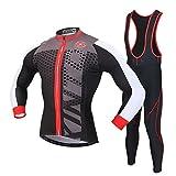 SKYSPER Moda Set Completo Ciclismo, Abbigliamento Ciclismo da Uomo Maglia con Lunghe Maniche Tuta + Pantaloni Lunghi di Ciclismo Ciclismo Jerseys per Uomo