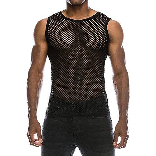 Tyoby Herren Weste Freizeit Muscle Pullover Tank Weste Mesh Shirt Top Bluse Sommer Sexy Herrenbekleidung(Schwarz,M)