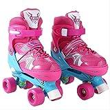 STBB Rollschuhe Schöne Stabile Kinder Rollschuhe Kinder Skaten Slalom Parallel Flashing Eisschuh Roller Schuhe Verstellbar Waschbar China Rosa m