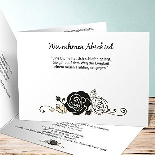 Einladungskarten Beerdigung, Schwarze Rose 60 Karten, Horizontale Klappkarte 148x105 inkl. weiße Umschläge, Gelb