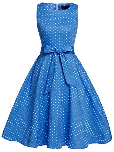 Blaues kleid mit goldenen punkten