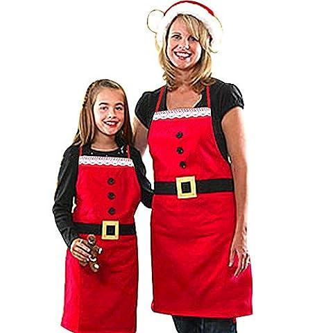 Mangotree 2er Pack Santa Schürze Weihnachtsdekorationen Verstellbare Lätzchen Schürze Mamma und Tochter Familie Abendessen Küche Kochen Backen Chef Schürzen (2 pcs, Erwachsene + (Kellnerin Kostüm Kind)
