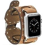Burkley Apple Watch 1 / 2 / 3 Lederarmband Uhrenarmband in breiter Ausführung mit Dornverschluss inkl. 42 mm Connector in cognac