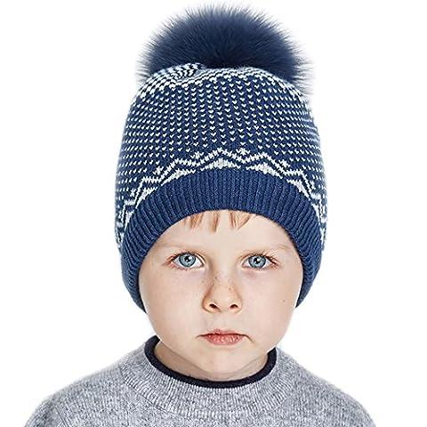 URSFUR süße Kinder Bommel Mütze gestrickte Ohren Hut Baumwoll strickMütze Baskenmütze Beanie Baumwollkappe - Marineblau mit fellbommel