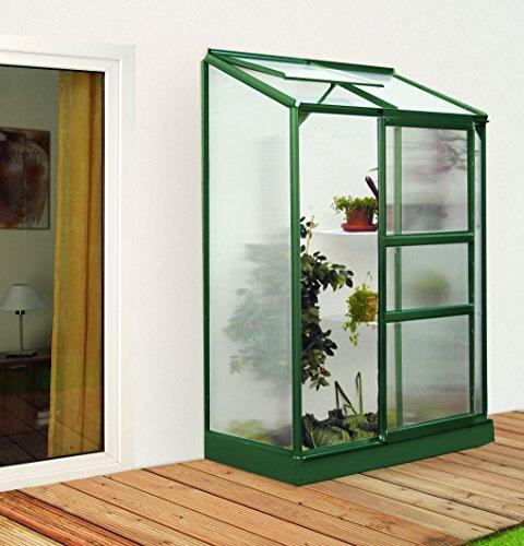 Gartenwelt Riegelsberger Anlehngewächshaus IDA – Ausführung: 900 HKP 4 mm dunkelgrün, Fläche: ca. 0,9 m², mit 1 Dachfenster, Sockelmaß: 0,65 x 1,30 m