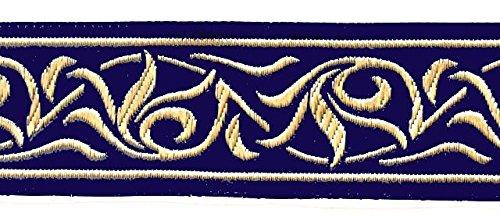 10m Renaissance Fleur Borte Webband 35mm breit Farbe: Dunkelblau-Gold von 1A-Kurzwaren 35001-dklblgo