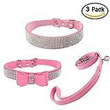 Newtensina 3 Stück Mode Hundehalsband und Leine Set Wildleder Bling Hundehalsband mit Fliege Welpen Halsband und Leine für kleine Hunde Katzen