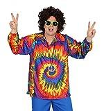 Foxxeo 40129 | cooles 70er 80er Jahre Batikhemd Hippie Hemd für Erwachsene Karneval Fasching Party Gr. M - XXL, Größe:XL
