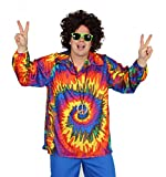 Foxxeo 40129| Cooles 70años Ochenta Batik Camisa Hippie Camisa para Adultos Carnaval Fiesta Tallas M–XXL