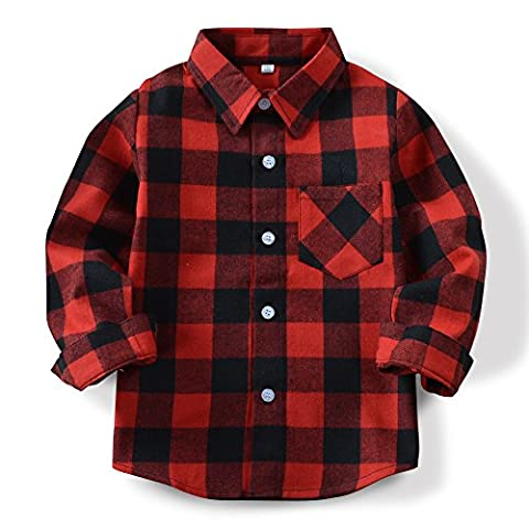Boys Girls Long Sleeve Button Down Plaid Flannel Shirt E001 Red Black-140CM