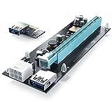 CSL - USB 3.0 PCIe 16x zu 1x Extender | PCIe-Adapter-Verlängerungskabel | USB-Adapter | Adapterkarte / Erweiterungskarte (extern) | Mining / Rendering Kit | Riser | ideal für Bitcoin, Ethereum etc.
