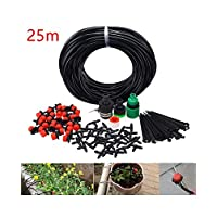 Bugersocks Water Irrigation Set Automatic Balcony Pot Micro Drip Watering System (25M,30 Adjustable Dripper)