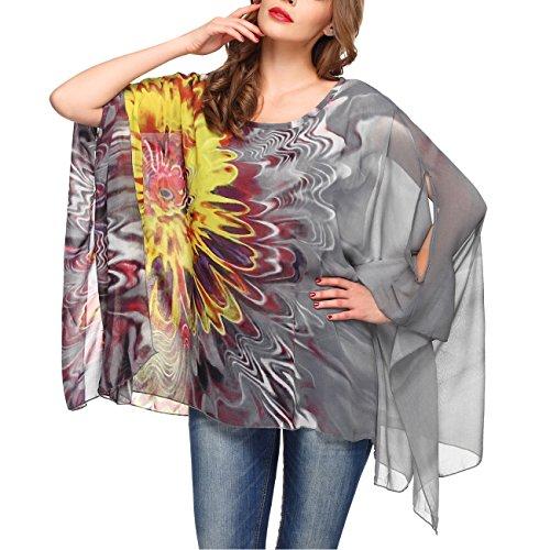 DJT Femme T-Shirt Manches Chauve-souris en Tulle Blouse Imprime Tops Gris