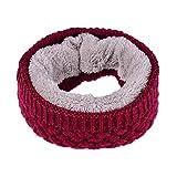 Shujin Unisex Winter warm Feinstrick Loop Schal mit Flecht Muster mit weich gefüttert Strick-Schal Schlauchschal Rundschal für Damen Herren (Weinrot, One Size)