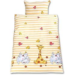 Gräfenstayn® 2-tlg. Kinder Baby Bettwäsche Set mit Tiermotiv und integriertem Reißverschluss - aus 100% Baumwolle - Deckenbezug 135x100cm und Kissenbezug 60x40cm (Giraffe & Elefant)