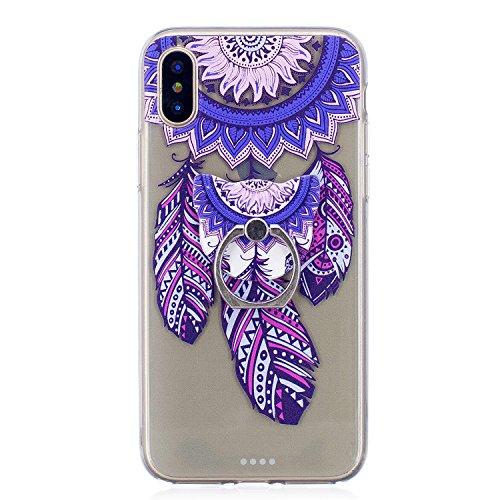 Cover per iPhone X Silicone Case , YIGA Moda Blu Dreamcatcher Cristallo Trasparente Cover Cassa Silicone Morbido TPU Case Caso Shell Protettiva Custodia per Apple iPhone X (5,8) MM21