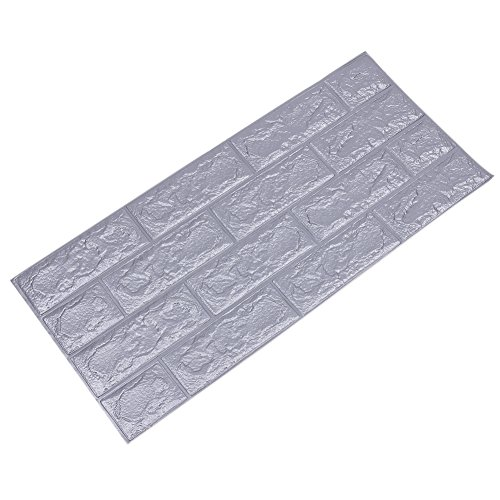 Preisvergleich Produktbild 10 Stück Brick Pattern Wallpaper Ziegel Tapete, YTAT Selbstklebend Brick Muster Tapete, Ziegel Tapete für Schlafzimmer Wohnzimmer moderne tv schlafzimmer wohnzimmer dekor, 70x31x1cm, (10, grau)