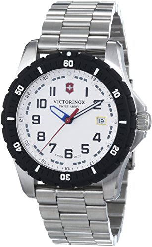 Victorinox Swiss Army Men's Quartz Watch with Black Dial Analogue Display and Silver Stainless Steel 241677