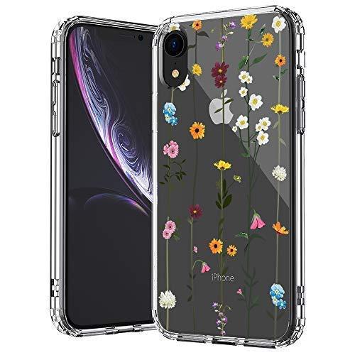 MOSNOVO iPhone XR Hülle, Wildblume Floral Blumen Muster TPU Bumper mit Kunststoff Hülle Durchsichtig Schutzhülle Transparent für iPhone XR (Wildflower)