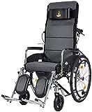 Las sillas de ruedas portátil 23Kg Transporte de Control Médico respaldo del asiento 100Kg de carga del cojinete 47 * 45cm del asiento desmontable de escritorio-Cómoda, ancianos inválidos, FG Negro /