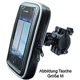 """Fahrrad- und Motorrad-Halterung mit Schutz-Tasche für Smartphone, Navigator, Handy, MP3 Player - Display-Diagonale: 5,5"""" - Höhe bis 15,5cm / Breite bis 8,6cm / Tiefe bis 1,8cm - Schutzhülle Spritzwasser geschützt!"""