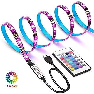 WEKNOWU USB LED TV Hintergrundbeleuchtung, 2m LED Strip Kit mit Fernbedienung, LED Band Lichter 2m für 40-60 Zoll TV – 16 Farben SMD 5050 LEDs Ambiente Beleuchtung für HDTV (IR Fernbedienung)