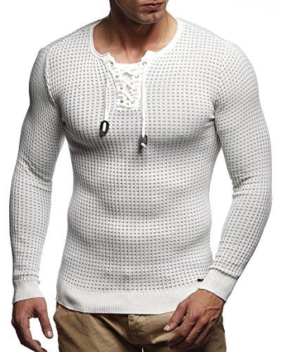 LEIF NELSON Herren Pullover Strickpullover Hoodie Basic Rundhals Crew Neck Sweatshirt langarm Sweater Feinstrick LN1605; Gr_¤e M, Ecru-Grau (Crew Sweatshirt)