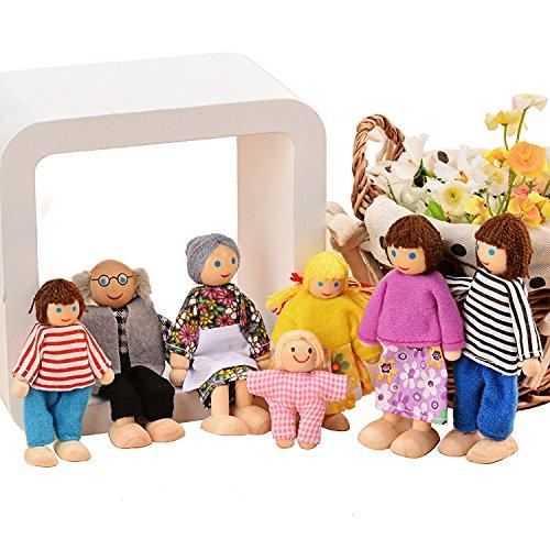 Gernice Puppenhaus Puppen Holzspielzeug Puppenfamilie mit 7 Biegepuppen Puppen Figuren für Kinder.